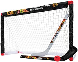 Franklin Sports Chicago Blackhawks Mini Hockey Set - Knee Hockey Goal, Ball, & 2 Hockey Stick Combo Set - Mini Goal Net - NHL Official Hockey Set