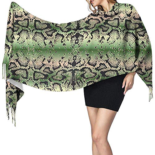 NA Womens Large Scarf Schlangenhaut Muster Soft Cashmere Feel Pashmina Schals Wraps