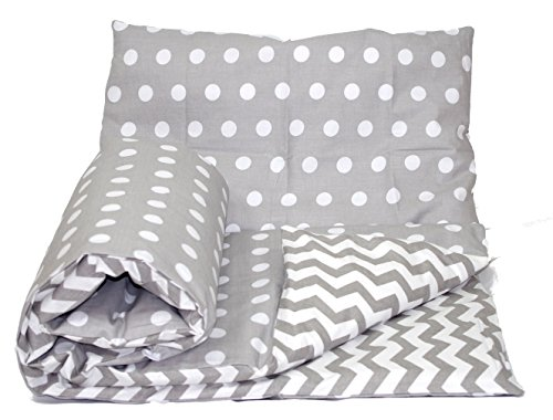 Baby's Comfort Reversible Baby Bedding Set, 120 x 90 cm, Grey Spots/Grey Chevron, 2-Piece