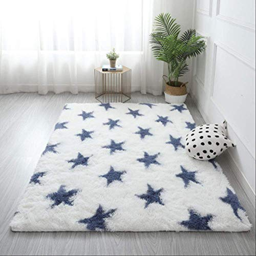Shaggy Tie-dye Carpet Printed Plush Floor Fluffy Mats Kids Room Faux Fur Area Rug Living Room Mats Silky Rugs 120x200cm Blue Star