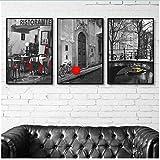 XingChen Estilo nórdico 3x60x80cm Sin Marco Venecia Ciudad Barco en el Lago Hotel Villa Cafe Decoración Pintura Italia Sala de Estar Decoración Pintura Negro Blanco