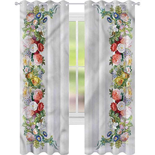 Curtains for Living Room Victorian Rose Garland Pastel W52 x L84 Noise Reducing Curtain