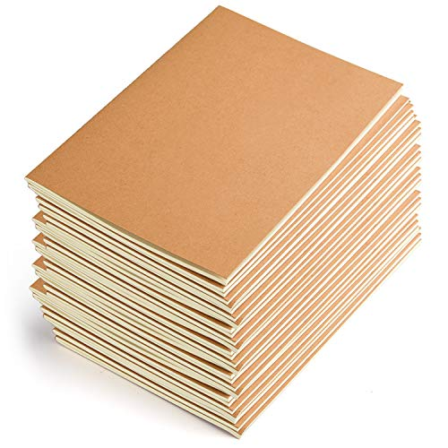 Coopay 24 Pack Journal Notebook Kraft Brown Cover Lined Notebooks for Travelers - A5 Size - 210 mm x...