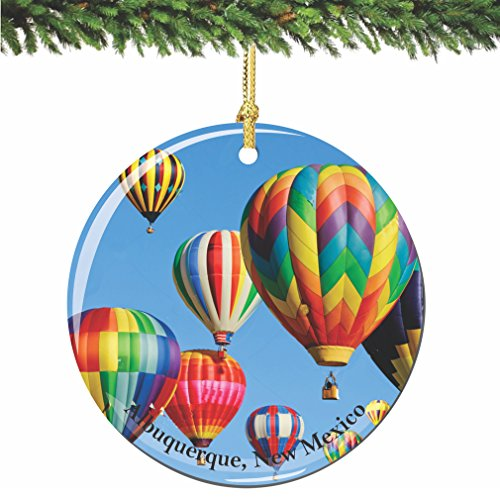 City-Souvenirs Albuquerque New Mexico Christmas Ornament, Porcelain 2.75 Inch Hot Air Balloons Christmas Ornaments