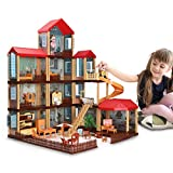 Temi Dollhouse DIY Pretty Dreamhouse Kit Decorations w/ Furniture, Accessories, Doll Action Figure and Movable Stairs, Build Perfect Toddler Girls and Kids Crafting Toy with Real LED Light(11 Rooms)