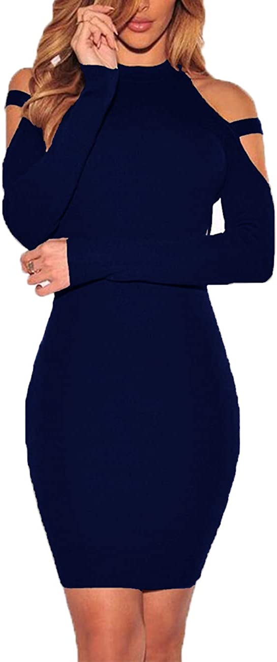 Haola Women's Sexy Cold Shoulder Long Sleeve Dress Bandage Party Club Bodycon Midi Dresses