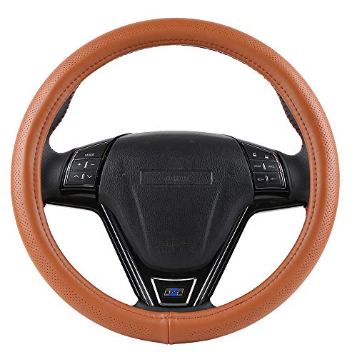 Orange Genuine Leather Steering Cover Fits 15 Inch Outer Diameter...