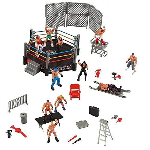1pc Wrestler Atleta Wrestling Figura Gladiatore Modello Set con Combattere Stazione Gabbia Montata Battaglia Giocattolo Gioco per Ragazzi