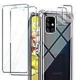 AROYI Funda Compatible con Samsung Galaxy A51 5G, 2 Pack Cristal Templado y 2 Pack Lente de cámara para Galaxy A51 5G, Silicona Suave TPU Carcasa Protección Caso para Samsung Galaxy A51 5G