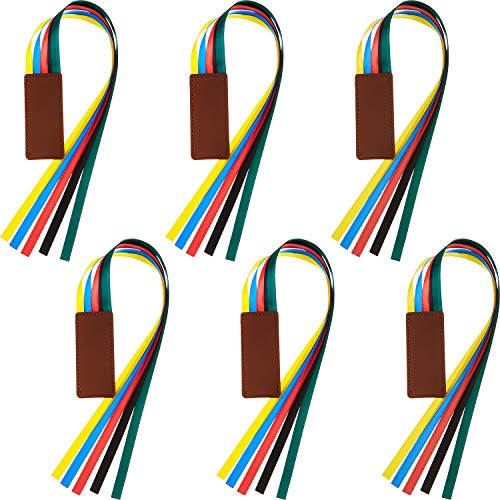 6 Pieces Ribbon Bookmark Multi Ribbon Page Marker Leatherette Bookmark Artificial Leather Bookmark with Colorful Ribbons for Books