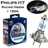 2x Philips Racing Vision +150% H7 55W 12V 12972RVS2 Original Hell Weiß High Tech Ersatz Halogen Birne für Scheinwerfer, Fernlicht, Abblendlicht, Nebelleuchte vorne - E-geprüft