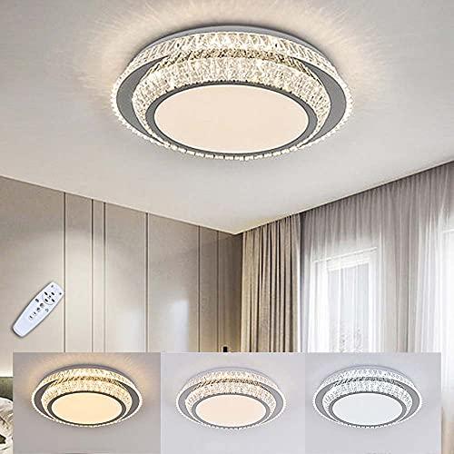 Lámpara De Techo LED Moderna Redonda Regulable Crystal Con Control Remoto Bonita Lámpara De Plafón De 2 Pisos Para Sala De Estar, Dormitorio, Cocina, Oficina, Ø50cm 48W
