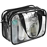 Clear Cosmetics Bag TSA Approved Toiletry Bag, Large Clear Travel Bag for Toiletries, Waterproof & Draining Transparent Makeup Bag Tote Bag, Carry On Airport Airline Compliant Bag for Men Women