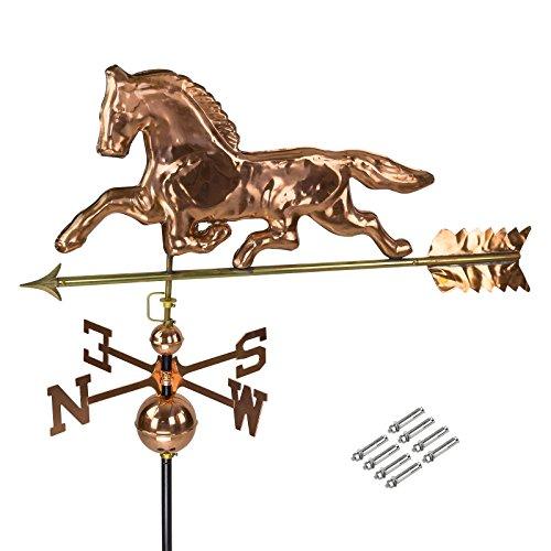 DEMA 3D Wetterfahne Pferd aus Kupfer mit Fuß