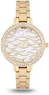 Sunex watch for women analog gold stainless steel dial white dial S6511GW