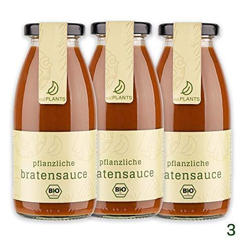 eatPLANTS vegane braune BIO Bratensoße im Glas – 3x 260 ml Gläser dunkle rein pflanzliche Soße ohne Zusatzstoffe zum Kochen oder für Braten