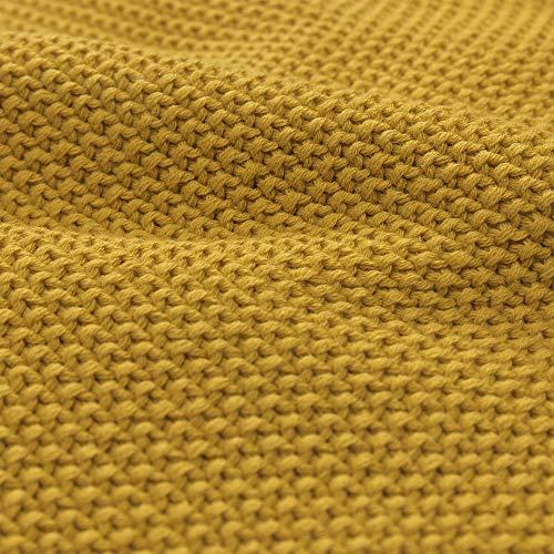 URBANARA 200x260cm Decke 'Antua' Leuchtendes Senfgelb – 100% Baumwolle – Baumwolldecke, Überwurf, Plaid, Strickdecke, Sofadecke für Bett, Sofa