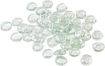 Houseables Glass Stone, Clear Marbles, Pebbles for Vases, 5 LB, 500-600 Stones, Flat Bottom, Round Top, Rocks, Bowl Filler Gems, Iridescent Decor, Decorative Centerpieces, Florist Supplies, Aquarium