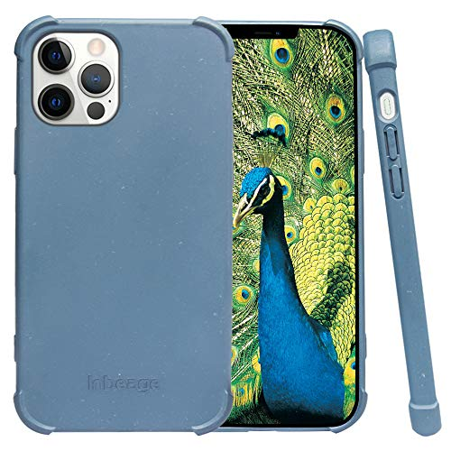 Inbeage Eco Armor Bio Hülle für iPhone 12/12 Pro,100prozent Biologisch Abbaubar & Kompostierbar,Umweltfre&lich & Nachhaltig Handyhülle,Natürliche Textur,6.1 Inches (Rauchblau)