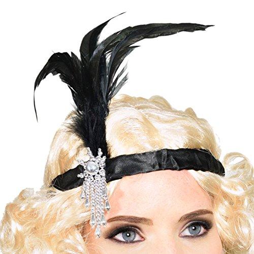 GOODS+GADGETS Charleston 20er Jahre Stirnband mit Feder Kopfschmuck Haarband für Burlesque Kostüm Kleid Outfit Accessoire