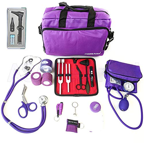 ASATechmed Nurse Starter Kit - Stethoscope, Blood Pressure Monitor, Tuning Forks, and More - 18 Pieces Total (Purple)