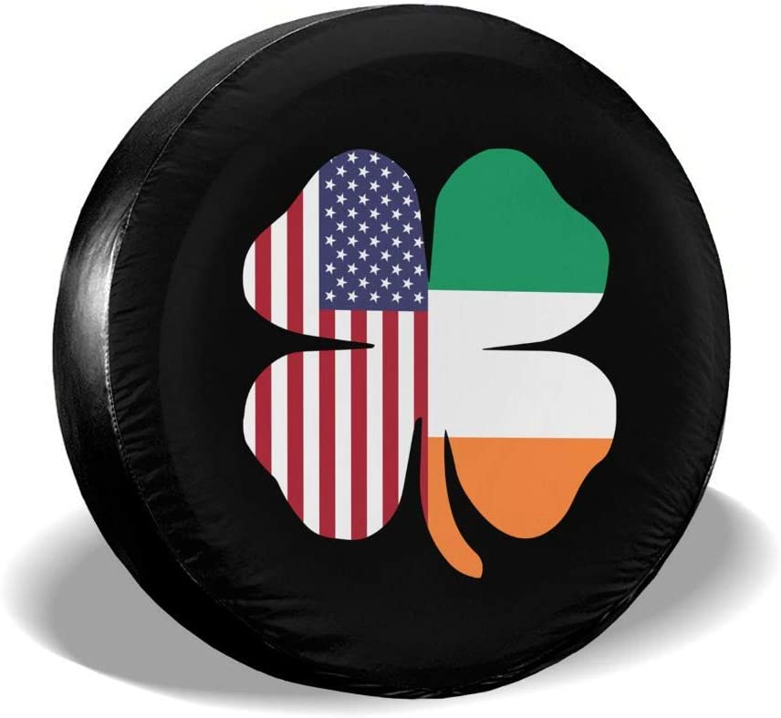 DoubleHappy Irish Shamrock Car Tire Cover Protective Cover Spare Wheel Tire Cover