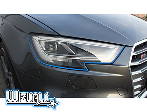 DEVIL STRIPES Eye TEUFEL koplamp ORIGINELE WIZUALS + MIRROR STRIPES SET, 6-delig SET 4x DEVILSTRIPES incl.2x GRATIS MIRROR STRIPES voor uw AYGO in lichtblauw