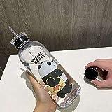 Vaso de agua de 1000 ml, botella de agua de gran capacidad, diseño de oso, botella de agua transparente, esmerilada, a prueba de fugas, taza de agua (color: transparente A1)