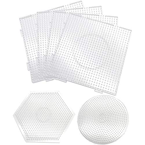6 Pack 5mm Fuse Beads Pegboards Craft Tray Set, Including 4 Pcs Large Square Clear Plastic Fuse Beads Pegboards, 1 Pcs Round and 1 Pcs Hexagon Fuse Beads Pegboard for Kids DIY Art Crafts