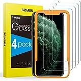 SPARIN [4-Pezzi Pellicola Vetro Temperato Compatibile con iPhone XS/iPhone X/iPhone 11 PRO [Strumento per Una Facile Installazione], Vetro Temperato iPhone XS/X/ 11 PRO [Nessuna Bolla]