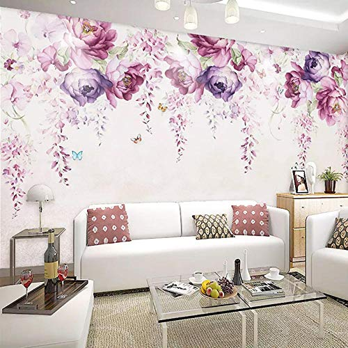 3D-Wallpaper Modern Simple Hand-painted Violet Peony Flowers Photo Wall Murals Living Room TV Sofa Backdrop Wall Painting Decor