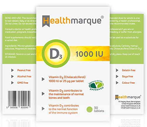 Vitamin D Tablets Pharmacopoeia Grade Premium 1000iu D3 Supplements by Healthmarque UK; 25mcg | 30 Tablets not Capsules | Bone Muscle & Immune Support | 1 Month Supply