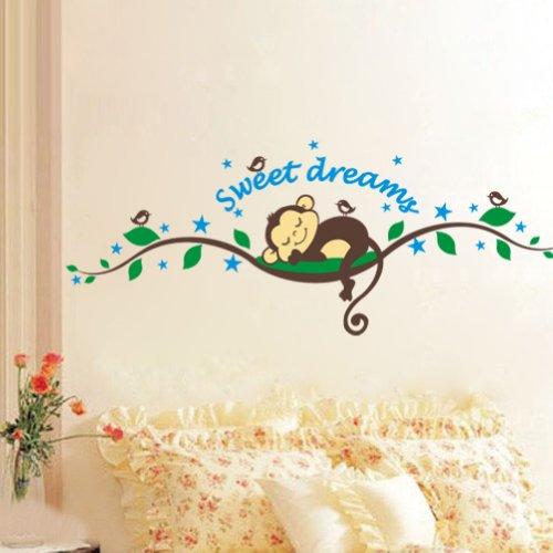 WallStickersDecal - Adesivo da parete, tema foresta scimmia che dorme su un albero