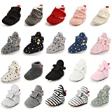LAFEGEN Baby Booties for Boys Girls with Soft Lining Non Slip Gripper Newborn Infant Slipper Socks Toddler First Walker Crib Shoes 0-18 Months, 05 White, 6-12 Months Infant