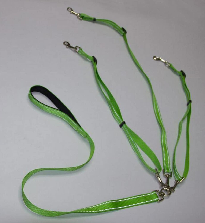 DU&HL Reflective Adjustable Nylon Dog Belt, 1 Drag 3 Pet Traction Rope