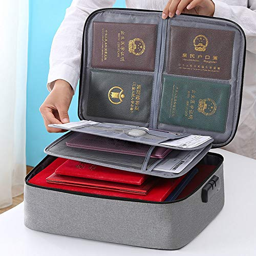 Multifunctional Waterproof Document Storage Box 3 Layer with Password Lock Organizer Bag, Important Files Certificate Box for Passport, Legal Documents, Bank Credit Card, USB Valuables (Gray)