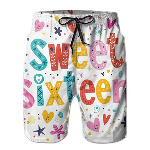 WANGKG Men's Big and Tall Swim Trunks Beachwear Drawstring Summer Holiday,Hand Drawn Cute Sweet Sixteen Blossoms Petals Stars Heart Pattern,XL,3D Print Shorts Pants