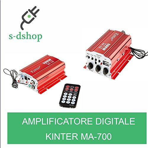 S-D SHOP - KINTER MA-700 2 CH 500W HI-FI STEREO AMPLIFICATORE DIGITALE AUDIO AUTO BARCA