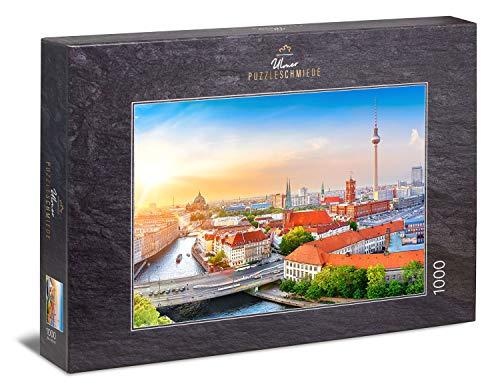 Ulmer Puzzleschmiede - Puzzle de ciudad de Berlín – Clásico puzle de 1000 piezas – Diseño de puzzle Centro de la ciudad de Berlín con mirada a la torre de televisión y Alexander - Grabación de aire