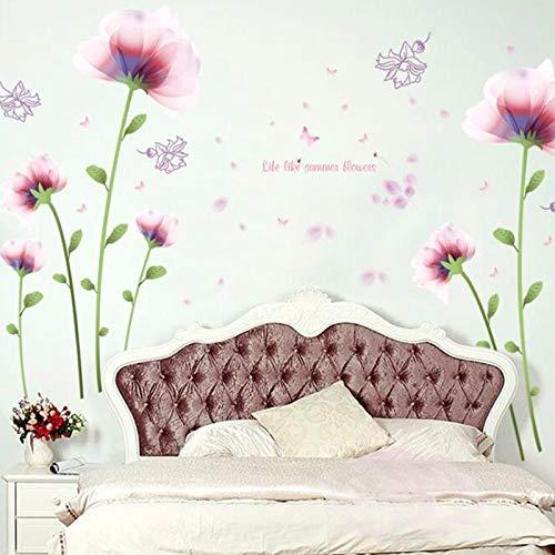 Romantisch Roze Bloemen Slaapkamer Woonkamer Slaapbank TV Achtergrond Warm Bruiloft Kamer Decoratie Muurstickers Vinyl Decoratie stickers30X90cm