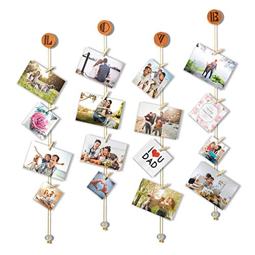 Olakee Love Hanging Photo Display Picture Frame Collage Picture Display Organizer with 20 Wood Clips for Wall Decor Hanging Photos Prints and Artwork