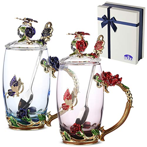 BTäT- Tea Cups with Lids, Pack of 2, Glass Tea Cup, Fancy Tea Cups, Gifts for Women, Tea Mugs for Women, Flower Tea Cup, Blown Glass, Tea Cup Gift, TeaCup, Tea Sets for Women, Gift Ideas for Women
