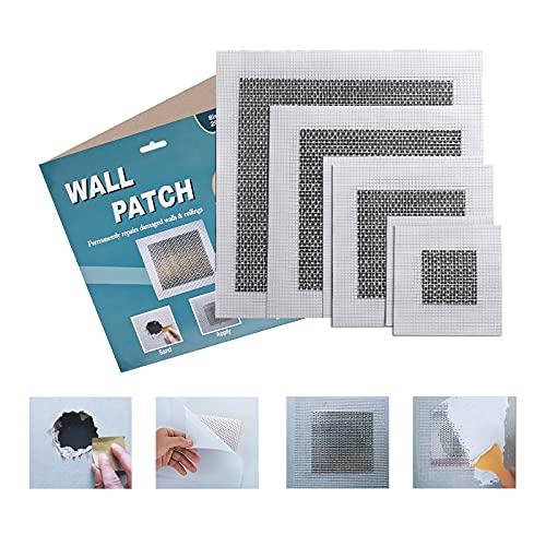 6 Pieces Aluminum Wall Repair Patches Self Adhesive, 2/4/6/8 Inch Fiberglass Mesh Wall Screen Repair Patches Plates, Drywall Repair Tools Kit for Ceilings Drywall Plasterboard