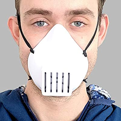 Fluid Barrier Face Mask with Lightweight Nonporous Plastic, Silicone Seal and Replaceable MBN95—53100 Synthetic Media Filter - Hand Made in USA, 100% Money Back Guarantee from RapidMade, Inc.