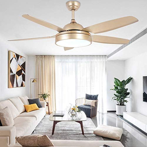 Ceiling Fan Chandelier with LED Light and 5 Blades Champagne Remote Control for Home Decoration Living Room Bedroom 52 Inch (Champagne)