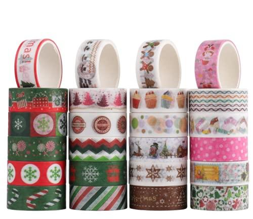 Speyang Washi Tape, 24 Rouleaux Noël Washi Masking Tape Adhésif Ruban, Noël Vacances Washi Tape DIY Scrapbooking Masquage Rubans Adhésifs Décoratif