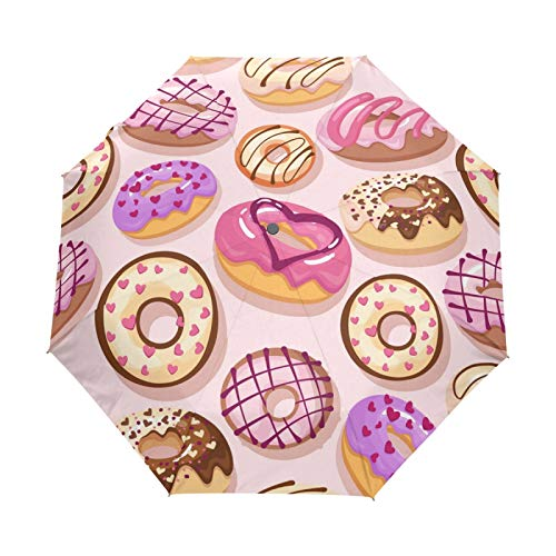 BALll - Paraguas plegable para sol, lluvia, automático, antiUV, chocolate, galletas, donut, viajes, compacto