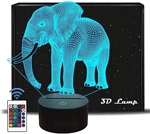 Regalos para niños, elefante 3D ilusión lámpara con control táctil regalos de cumpleaños de Navidad para niños