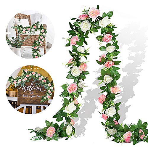EPLST 2 Pack/15.7FT Artificial Flowers Lifelike Silk Decorative Faked Flower Rose Vine Rattan Cane Garland Wall Hang Plant Wedding Party Home Garden Hotel Office Arch Arrangement Decoration White Pink