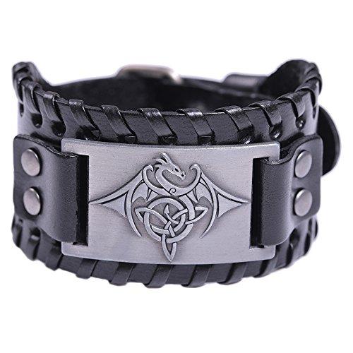 HAQUIL Men's Celtic Bracelet- Celtic Dragon Talisman - Black Wide Leather Wristband